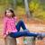 najaar · kid · meisje · vallen · bos - stockfoto © lunamarina