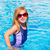 blond · Kid · fille · bleu · piscine · posant - photo stock © lunamarina