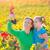 Mother and daughter on autumn vineyard smiling holding grape stock photo © lunamarina
