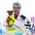 Crazy nerd scientist silly veterinary man with dog at lab stock photo © lunamarina