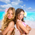 children two friends girls happy in tropical beach vacation stock photo © lunamarina