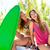 happy crazy teen surfer girls smiling on car stock photo © lunamarina