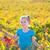 Kid girl in autumn vineyard field holding red grapes bunch stock photo © lunamarina