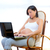 Beautiful pregnant woman at home with laptop stock photo © lunamarina