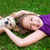 children girl playing with chihuahua dog lying on lawn stock photo © lunamarina