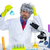 Crazy nerd scientist silly man on chemical laboratory stock photo © lunamarina