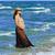 terhes · nő · tengerpart · zsebkendő · nő · víz · kezek - stock fotó © lunamarina