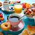 kávé · narancslé · croissant · napos · kert · asztal - stock fotó © lunamarina