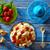 framboises · yogourt · cuillère · délicieux · verre · fraîches - photo stock © lunamarina
