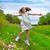 gelukkig · kinderen · meisje · springen · voorjaar · poppy - stockfoto © lunamarina