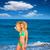 blond · toeristische · meisje · strand · majorca · gelukkig - stockfoto © lunamarina