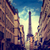 Эйфелева · башня · закат · Париж · Франция · ретро · город - Сток-фото © lunamarina