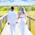 couple happy in wedding day walking rear view stock photo © lunamarina