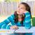 amerikan · genç · kız · ödev · tablo - stok fotoğraf © lunamarina
