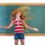 funny student girl flipping long hair at school stock photo © lunamarina