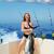 bikini · halász · nő · tart · tonhal · csónak - stock fotó © lunamarina