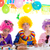 children happy birthday party eating chocolate cake stock photo © lunamarina