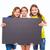 boldog · gyerek · lányok · tart · iskolatábla · copy · space - stock fotó © lunamarina