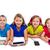 soeurs · Kid · filles · tech · rangée · heureux - photo stock © lunamarina
