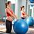 mujer · embarazada · pilates · ejercicio · entrenamiento · gimnasio - foto stock © lunamarina