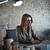 positief · zakenvrouw · werken · computer · witte · kantoor - stockfoto © lunamarina