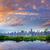 manhattan · Nova · Iorque · pôr · do · sol · linha · do · horizonte · chuvoso · crepúsculo - foto stock © lunamarina