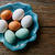 colorful eggs in white brown and blue colors stock photo © lunamarina
