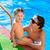 enfants · blond · fille · vacances · d'été · piscine · starfish - photo stock © lunamarina