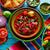 meksika · yemekleri · limon · çili · ahşap · mavi · kırmızı - stok fotoğraf © lunamarina