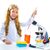 çocuklar · küçük · kız · okul · sınıf · mikroskop · bilim - stok fotoğraf © lunamarina