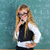 nerd pupil blond girl in green board schoolgirl stock photo © lunamarina
