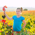 kid girl in autumn vineyard field holding red grapes bunch stock photo © lunamarina