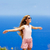 ragazza · capelli · aria · blu · mediterraneo - foto d'archivio © lunamarina