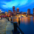 boston sunset skyline at fan pier massachusetts stock photo © lunamarina