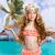 beach tropical vacation kid blond girl with fashion flowers stock photo © lunamarina