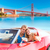 selfie of young couple convertible car golden gate stock photo © lunamarina