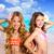 crianças · dois · amigos · meninas · feliz · praia · tropical - foto stock © lunamarina