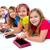 zusters · kid · meisjes · tech · rij · gelukkig - stockfoto © lunamarina