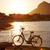 велосипед · пляж · закат · воды · трава - Сток-фото © lunamarina