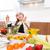 mutlu · şef · meyve · salatası · mutfak · arka · plan · restoran - stok fotoğraf © lunamarina