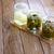savanyúság · hagyma · uborkák · fa · asztal · háttér · zöld - stock fotó © lunamarina