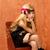 szőke · gyerek · lány · ül · retro · klasszikus - stock fotó © lunamarina