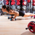 push ups woman with dumbbells workout fitness stock photo © lunamarina