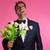 nerd man with lipstick face marks valentines day stock photo © lunamarina