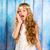 hermosa · niña · blanco · vintage · vestido · pelo · rizado · posando - foto stock © lunamarina