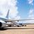repülőgép · kilátás · fehér · rámpa · repülőtér · égbolt - stock fotó © lunamarina