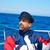 Beard sailor cap man sailing sea ocean in a boat stock photo © lunamarina