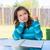 amerikan · genç · kız · ödev · düşünme · kalem - stok fotoğraf © lunamarina