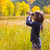 explorateur · Kid · fille · jaune · automne · nature - photo stock © lunamarina