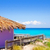 formentera tropical purple hut on turquoise beach stock photo © lunamarina